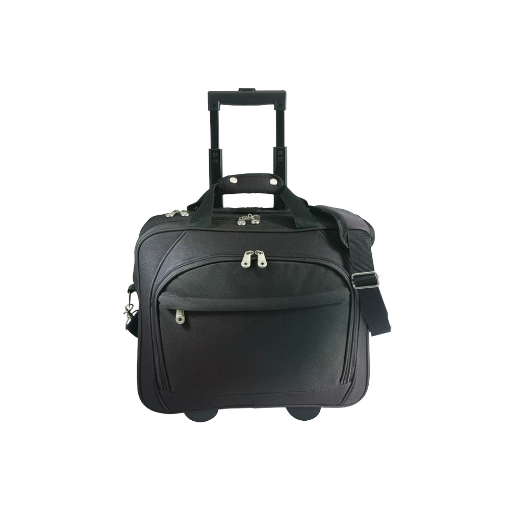 G. Pacific Business Rolling Laptop Briefcase with Laptop Holder - Black, Size: Small