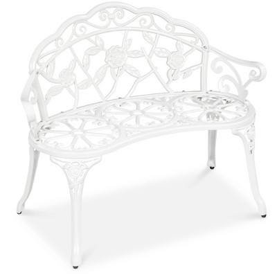 Best Choice Products 39in Steel Garden Bench for Outdoor	Patio	Park w/Floral Rose Accent	Antique Finish