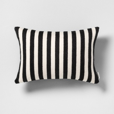 Outdoor Oblong Back Pillow Stripe Black / White - Hearth & Hand™ with Magnolia