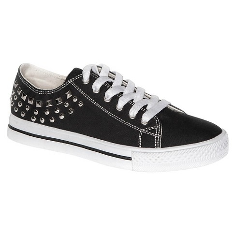 Gia-Mia Girls' Studded Canvas Sneakers - Black - image 1 of 2
