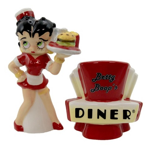 "Betty Boop 4.25"" Betty Boop Diner Salt & Pepper Waitress Hamburger Fries  -  Salt And Pepper Shaker Sets - image 1 of 3"