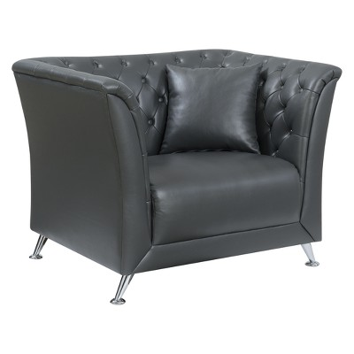 Bon Iohomes Roe Contemporary Button Tufted Leatherette Chair Gray   HOMES:  Inside + Out