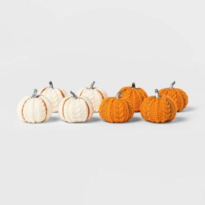 8ct Mini Cable Knit Harvest Pumpkins (with Contrast Jute)- Spritz™