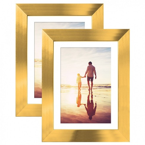 "Americanflat Picture Frame - Made of MDF / Polished Glass with Easel Stand & Horizontal and Vertical Formats - 5"" x 7"" - Pack of 2 - image 1 of 4"