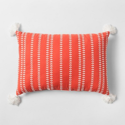 Coral Embroidered Lumbar Pillow - Threshold™