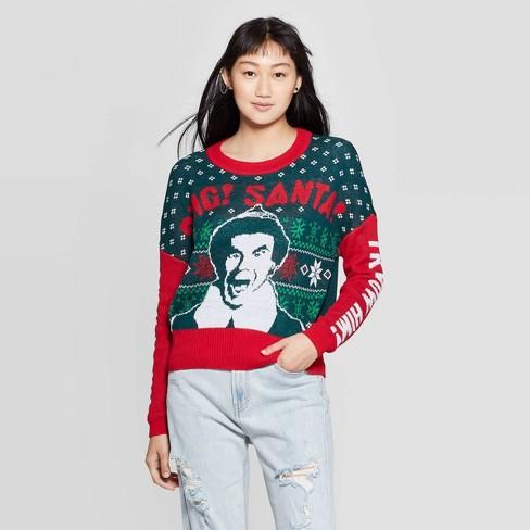 Women's Elf OMG Santa Graphic Sweatshirt (Juniors') - Red/Green - image 1 of 2