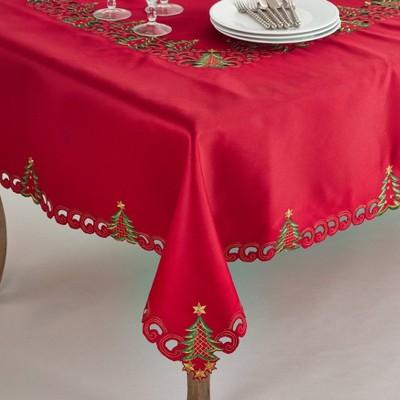 "67"" Christmas Tree Tablecloth Red - SARO Lifestyle"