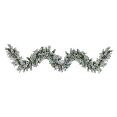 "Northlight 9' x 10"" Unlit Flocked Angel Pine with Pine Cones Artificial Christmas Garland"