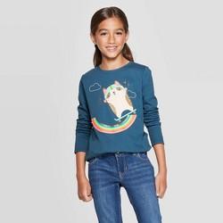 Girls' Long Sleeve Skateboarding Corgi Graphic T-Shirt - Cat & Jack™ Dark Teal