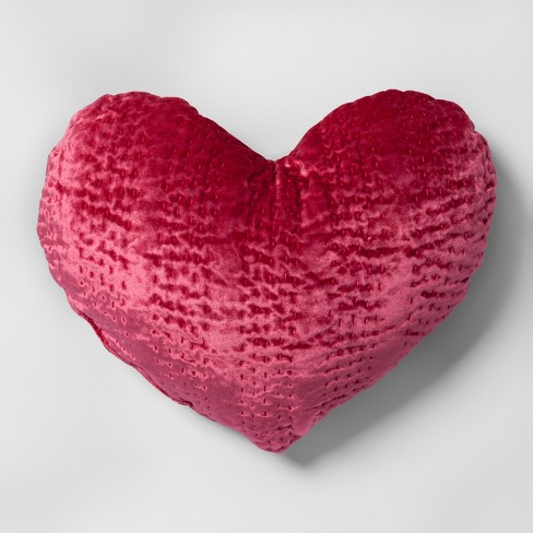 Velvet Heart Shape Throw Pillow Pink - Opalhouse™ - image 1 of 3