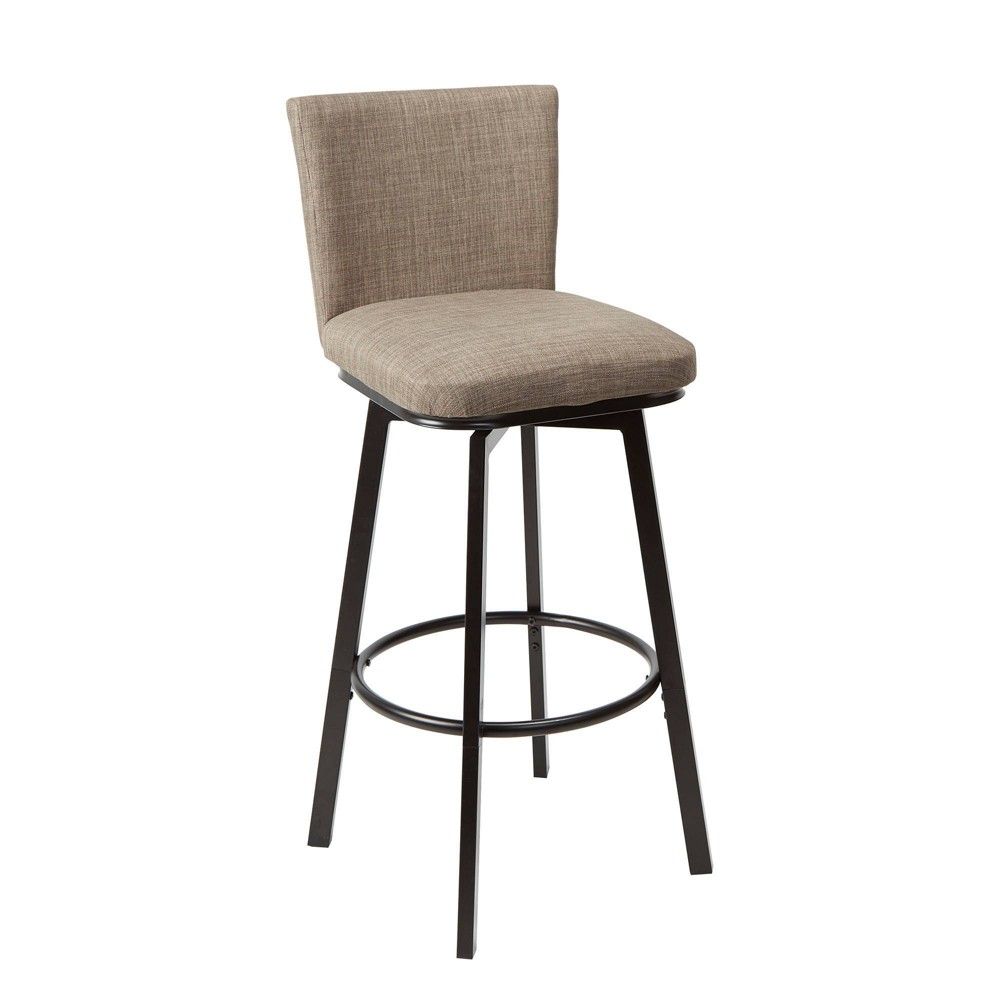Image of Reuben Upholstered Barstool with Adjustable Height Metal Frame Brown - Silverwood