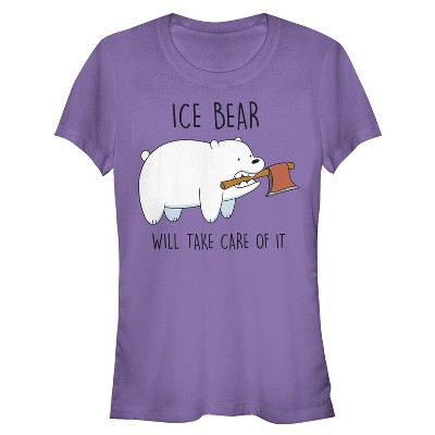 Junior's We Bare Bears Ice Bear Will Take Care of It T-Shirt