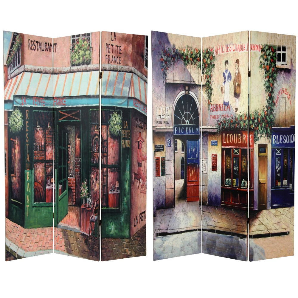6' Tall Double Sided Brasserie Canvas Room Divider - Oriental Furniture, Multicolored