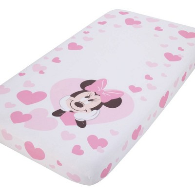 Disney Minnie Mouse Hearts Photo Op Fitted Crib Sheet - Pink and White