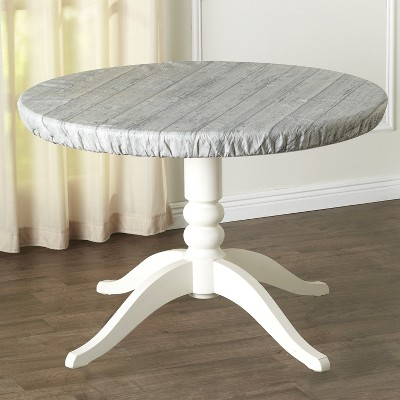 Lakeside Custom-Fit Elastic Round Table Cover with Wood-Grain Look