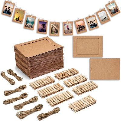 70 Pieces Kraft Paper Hanging Photo Display Set with String Twine and Clothespins for Wedding Party Decorations