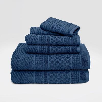 6pc Apothecary Bath Towel Set Dark Blue - LOFT by Loftex