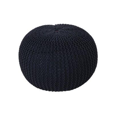 Abena Knitted Cotton Pouf Dark Blue - Christopher Knight Home