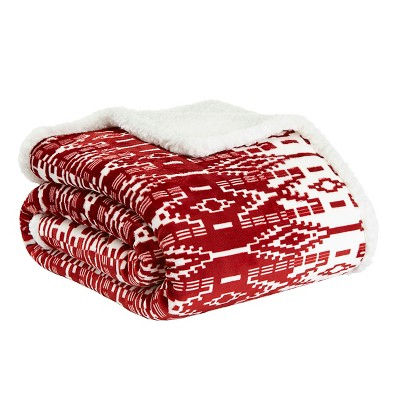 San Juan Sherpa Throw Blanket Red - Eddie Bauer