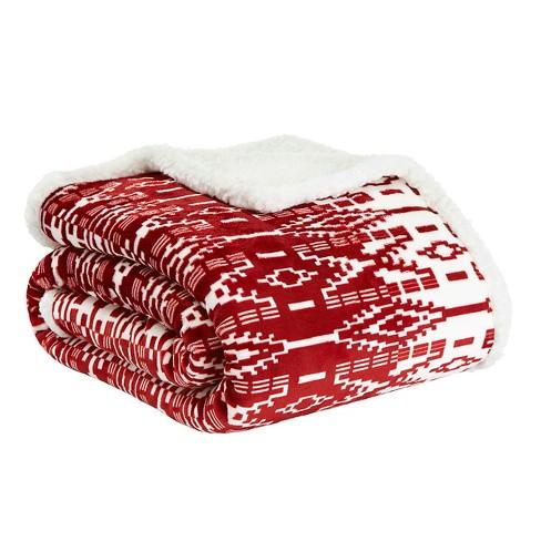 San Juan Sherpa Throw Blanket Red - Eddie Bauer - image 1 of 3