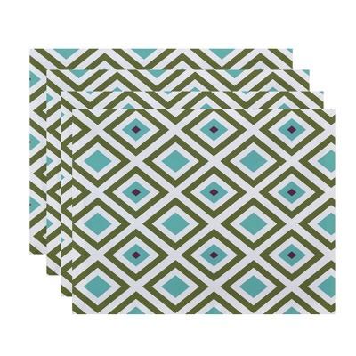 4pk Diamond Placemats Green - e by design