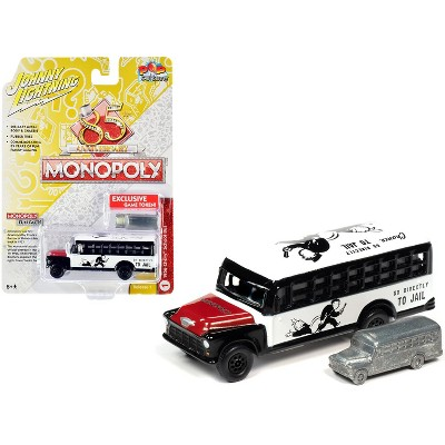 "1956 Chevrolet School Bus White & Black w/Red Hood & Game Token ""Monopoly 85th Anniversary"" Pop Culture Series 1/64 Diecast Model by Johnny Lightning"