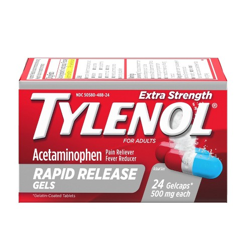 Tylenol Extra Strength Pain Reliever & Fever Reducer Rapid Release Gelcaps - Acetaminophen - image 1 of 9