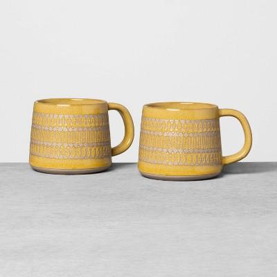 2pk Textured Mug Set Yellow - Hearth & Hand™ with Magnolia