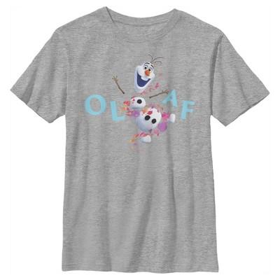 Boy's Frozen 2 Olaf Autumn Leaves Happy Portrait T-Shirt