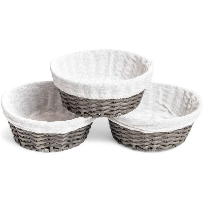 Farmlyn Creek 3-Pack Grey Round Wicker Nesting Baskets and Liners for Storage (8.7 x 3.5 in)