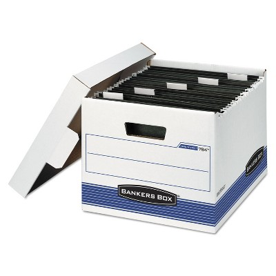 Bankers Box HANG'N'STOR Storage Box Letter Lift-off Lid White/Blue 4/Carton 00784