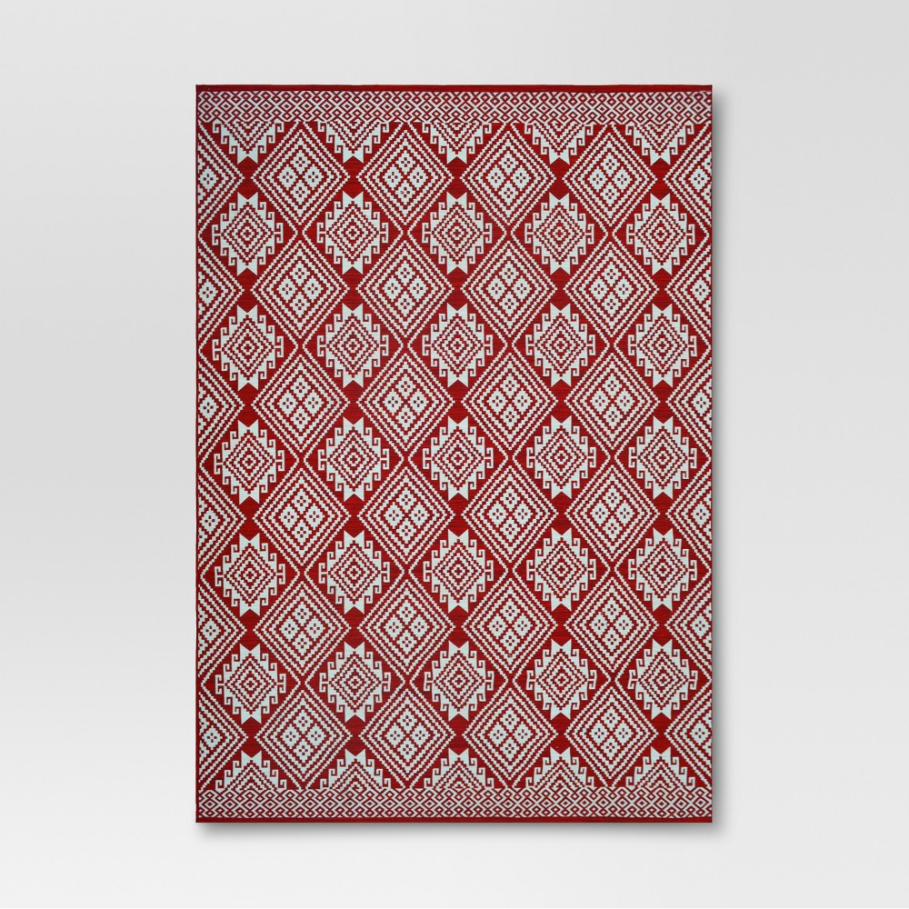 9' x 12' Global Grid Outdoor Rug Red - Threshold, Global Grid Red