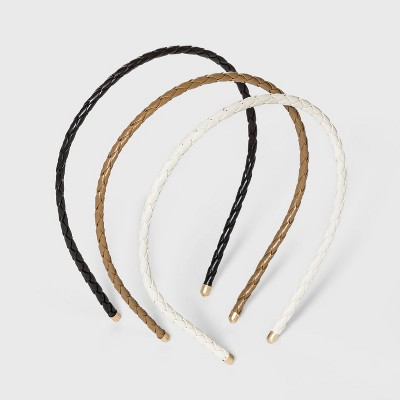 Braided Faux Leather Headband Set 3pc - Universal Thread™