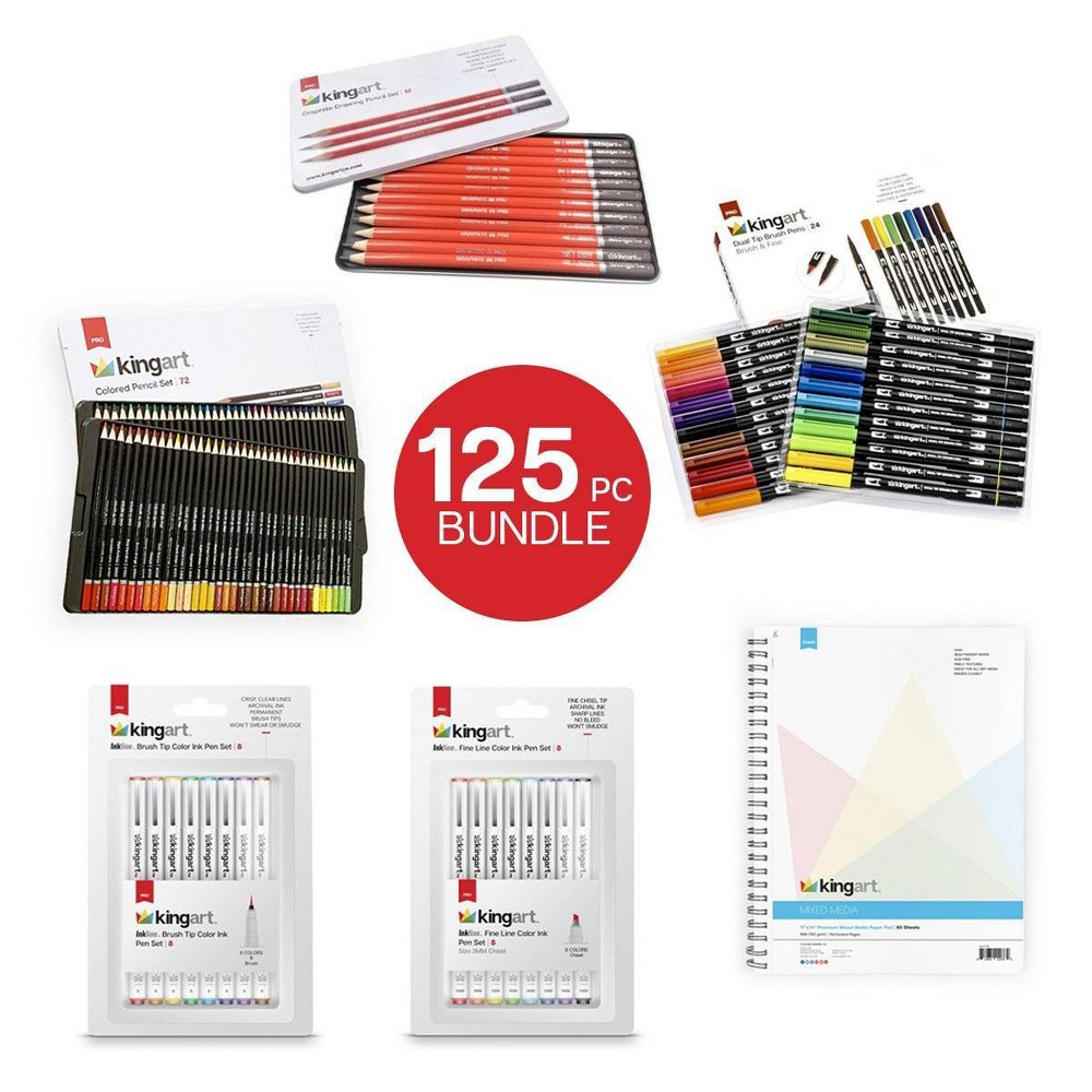 Image of Kingart 125ct Pencils Pens With Paper Pad Bundle