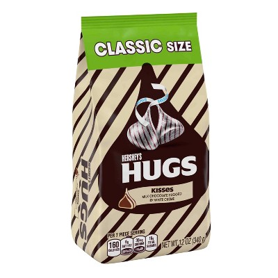 HERSHEY'S Hugs Milk Chocolate Hugged by White Crème Classic Bag -12oz