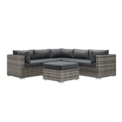 4pc Metal Multishade Rattan Sectional - Gray - Saracina Home