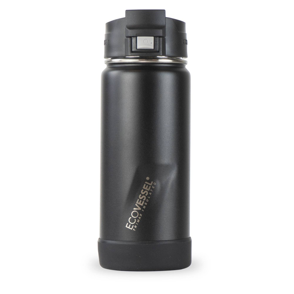 Ecovessel 16oz Perk Insulated Coffee Travel Mug Tumbler With Steel Tea Strainer Black