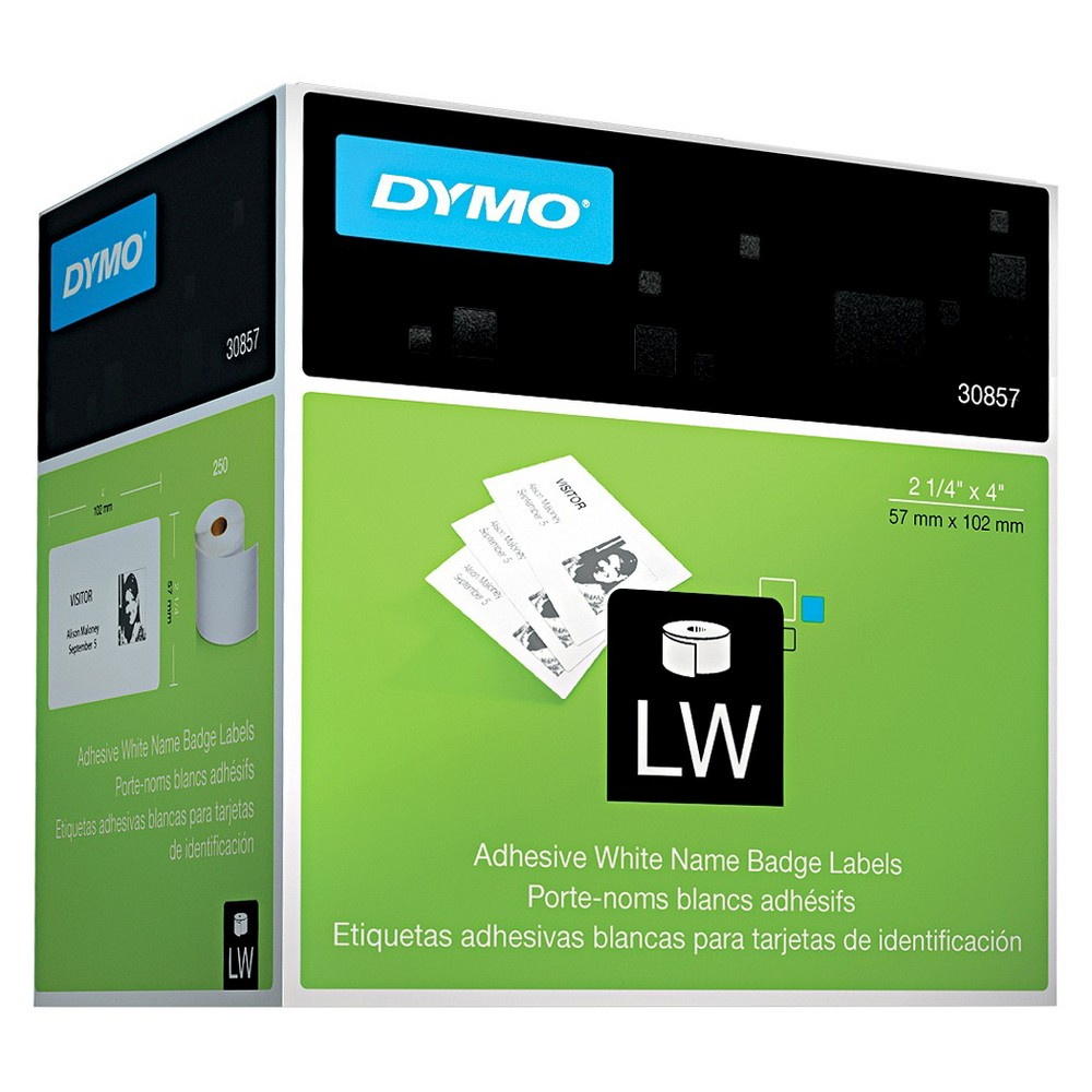 Dymo Self-Adhesive Name Tag Badge Labels, 2-1/4 x 4, White, 250/Box Keep track of new faces and enhance security at your workplace with the Dymo LabelWriter Non-Adhesive Name Badge Labels. Compatible with the Dymo LabelWriter Printer, these labels can be used in conjunction with the Dymo Name Badge Clips to affix identification to clothing without the mess of adhesives. The labels are constructed from durable material and feature a bright white background so names and other information are clear and easy to read. Label Size - text: 2 1/4 x 4''; Label Color(s): White; Machine Compatibility: All Dymo LabelWriter Label Printers; Catalog Description: Adhesive Name Badge w/Clip Hole.