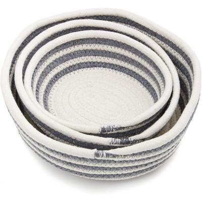 Farmlyn Creek 3 Pack Round Cotton Woven Storage Baskets, Gray Striped (3 Sizes)