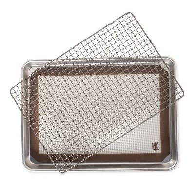 Nordic Ware 3pc Bakeware Set Half Sheet Silicone Mat & Cooling Rack