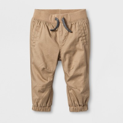 Baby Boys' Twill Joggers - Cat & Jack™ Tan Newborn
