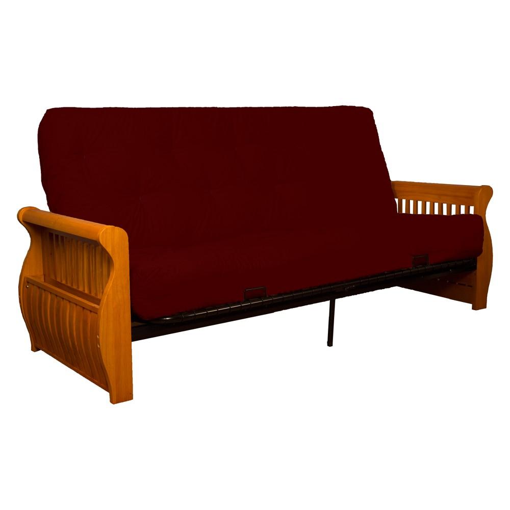 Storage Arm 8 Inner Spring Futon Sofa Sleeper Medium Oak Wood Finish Crimson (Red) - Epic Furnishings