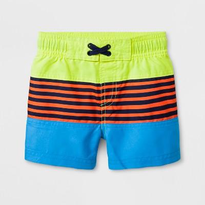 Baby Boys' Striped Swim Trunks - Cat & Jack™ Yellow 9M