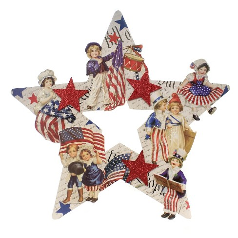 "Bethany Lowe Designs, Inc. 18.5"" Americana Star Die Cut Wreath July 4 Flag Uncle Sam - image 1 of 2"