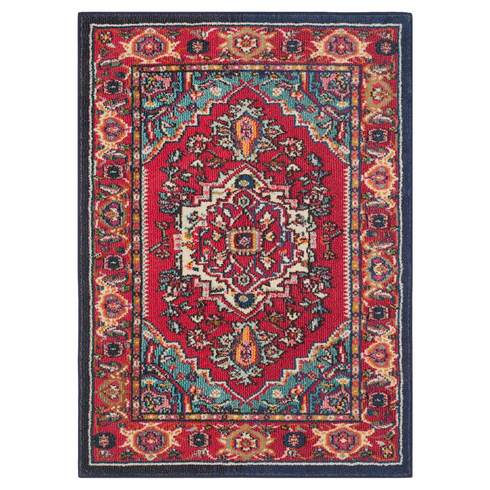 Red/Turquoise Medallion Loomed Area Rug 5'3