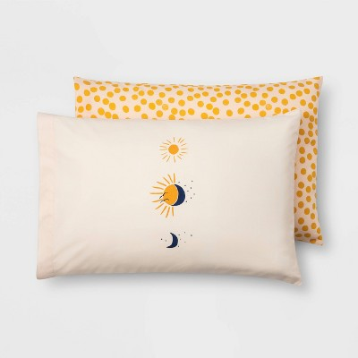 Standard Microfiber Printed Pattern Pillowcase Set Woodblock Dot/Sun - Room Essentials™