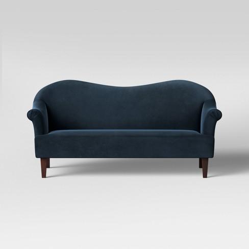 Esperanza Shaped Back Rolled Velvet Arm Sofa Opalhouse