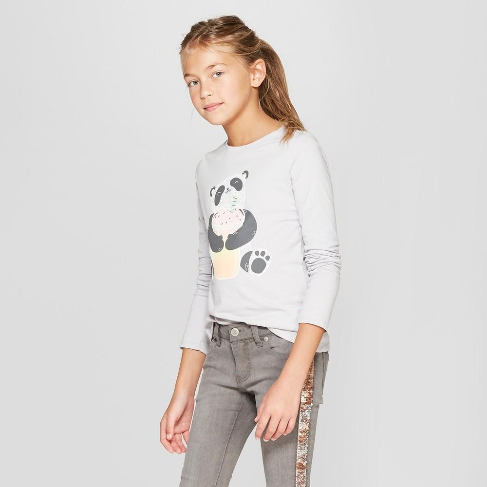 Girls' Long Sleeve Panda Graphic T-Shirt - Cat & Jack Gray L