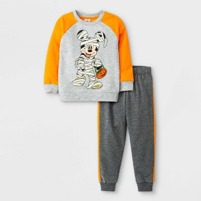 Toddler Boys' Disney Mickey Mouse Halloween Pullover and Jogger Set - Orange