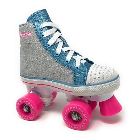 Chicago Skates Fashion Kids Quad Roller Skate Blue Silver J10 Target